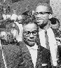 Malcolm X talks to journalists
