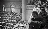 Malcolm X over the balcony of Congress